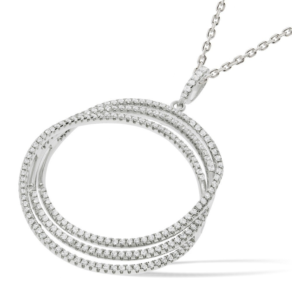 "Micro Pave 3 Row Round Cz Pendant with 18"" Chain"