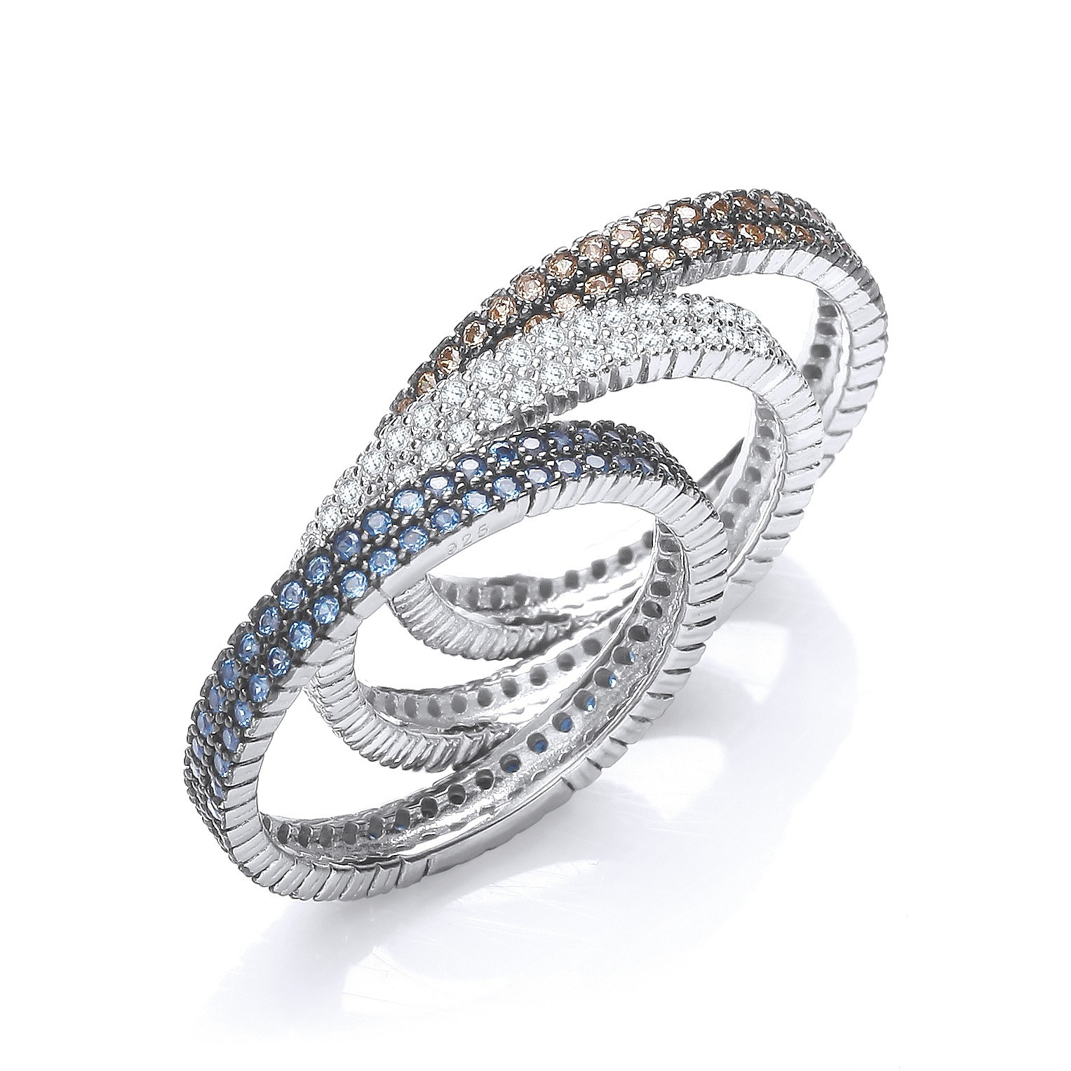 Micro Pave' 3 Band Ring (White, Sapphire & Champagne)