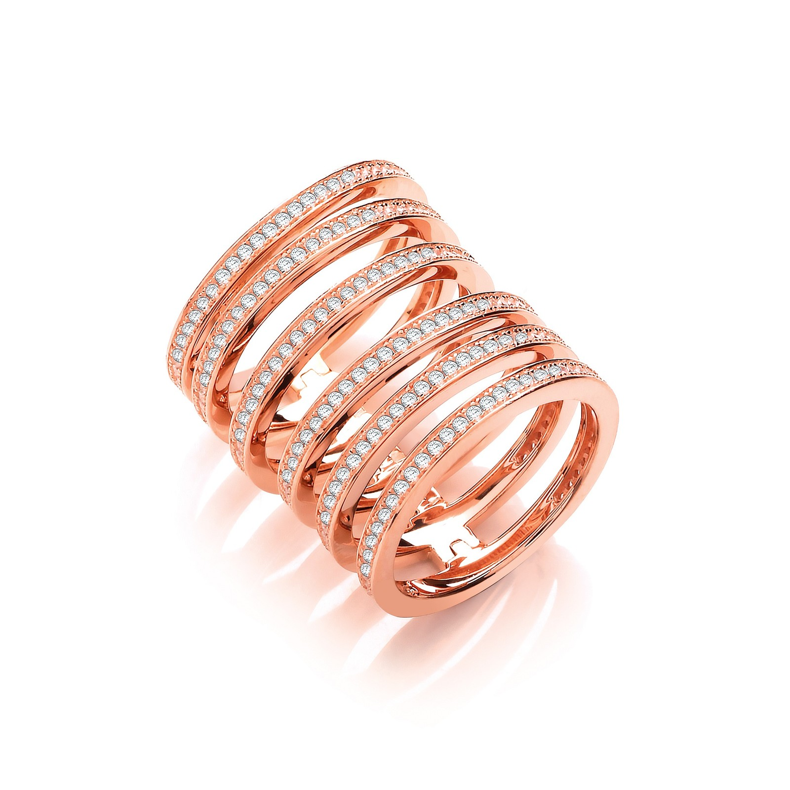 Rose Coated Silver Full Finger Hindged Knuckle Ring