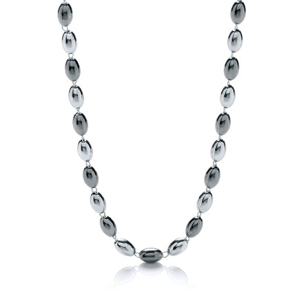 "Selling: Silver & Ruthenium Oval Bead Necklace 36""/92cm"