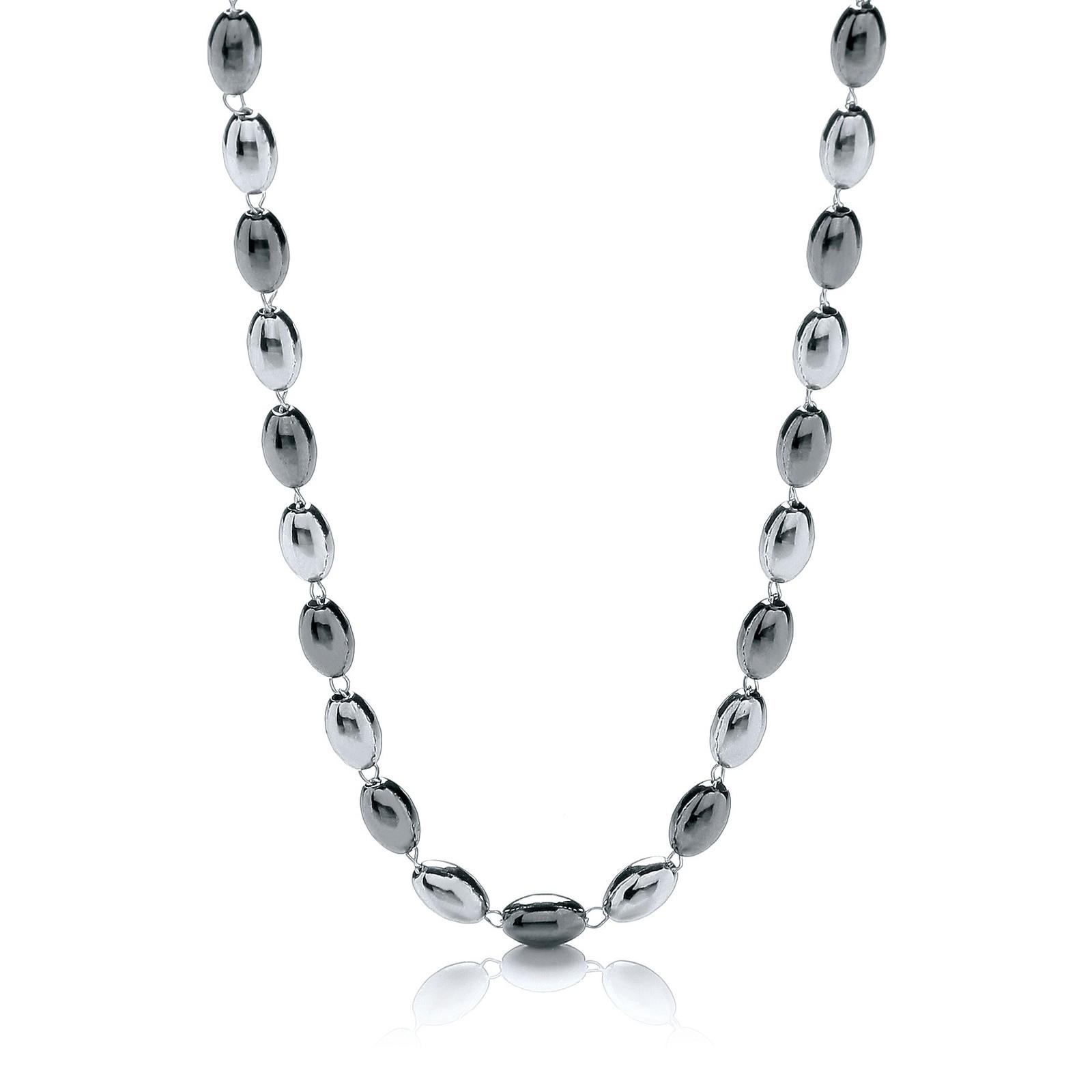 "Silver & Ruthenium Oval Bead Necklace 36""/92cm"