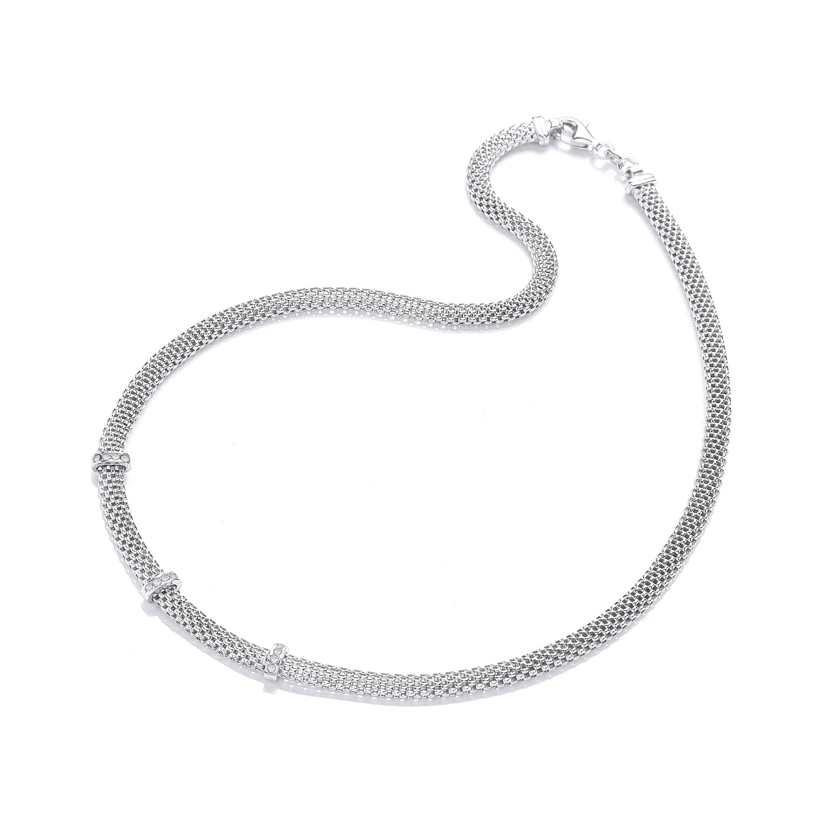 """Silver Mesh with Cz's Necklace 17""""/43cm"""