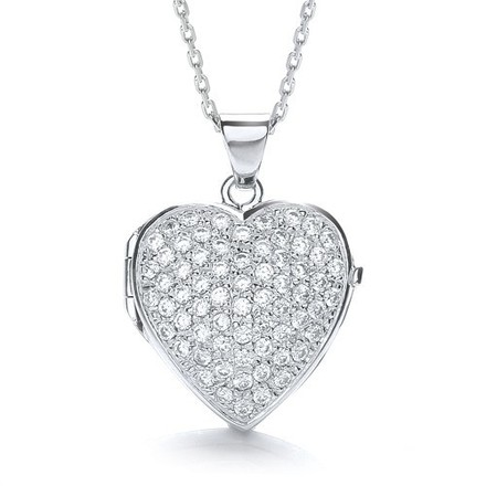 Selling: Big Heart Shape All Cz's on Front Locket