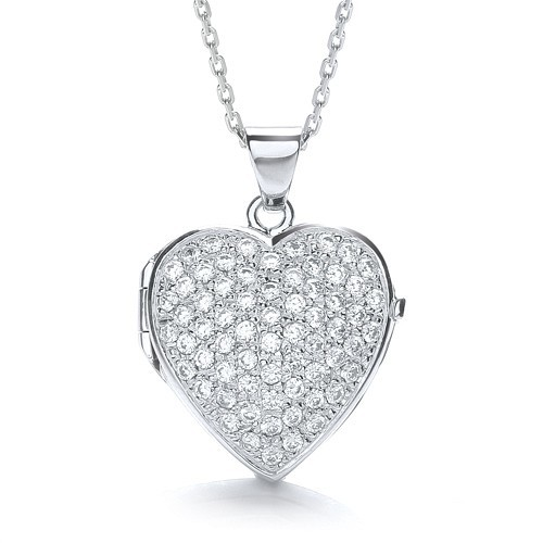 Big Heart Shape All Cz's on Front Locket