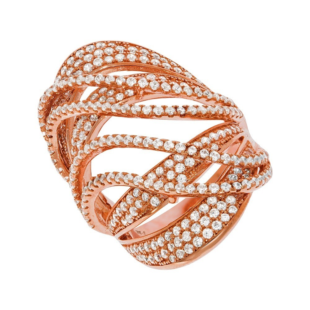 Micro Pave Rose Coated Fancy Silver Cz Ring