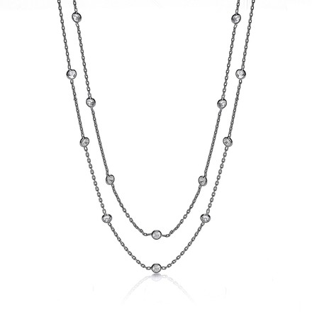 Selling: Ruthenium Coated Rubover 23 Cz's Necklace 38""