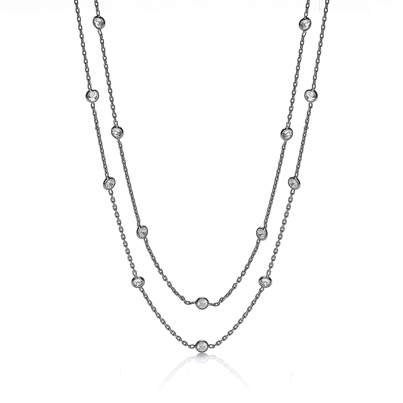 "Ruthenium Coated Rubover 23 Cz's Necklace 38"""