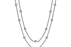 """Selling: Ruthenium Coated Rubover 23 Cz's Necklace 38"""""""