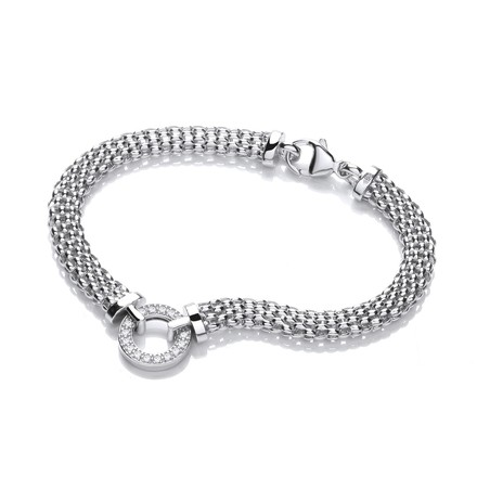 Selling: Mesh with Circle Cz's  Bracelet 7""