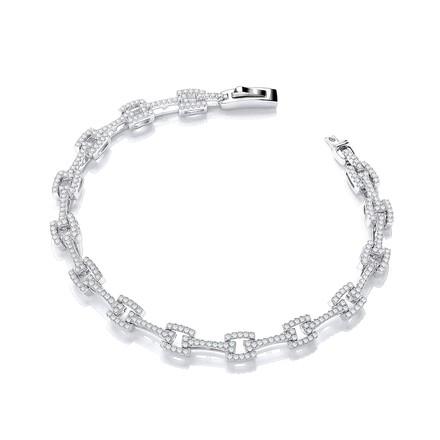 "Micro Pave' Cz  Square Link 7""/19cm Bracelet"