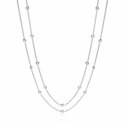 Selling: Silver Rubover 23 Cz's Necklace 38""