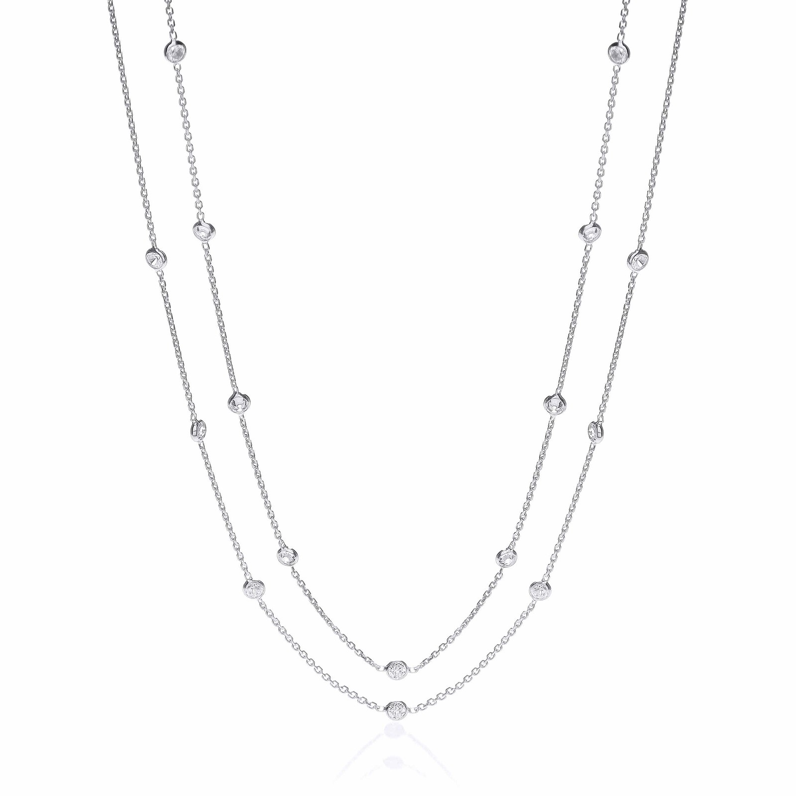 Silver Rubover 23 Cz's Necklace 38""