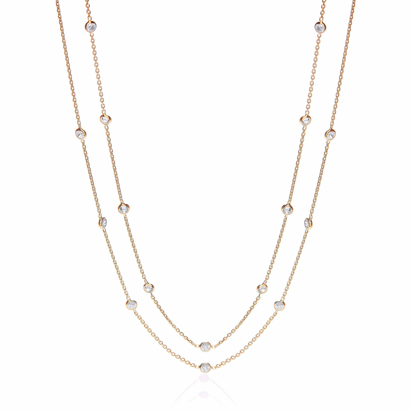 """Gold Coated Rubover 23 Cz's Necklace 38"""""""