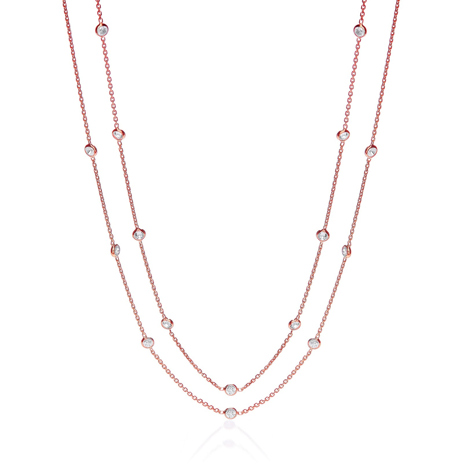 """Rose Coated Rubover 23 Cz's Necklace 38"""""""