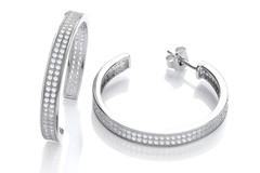 Selling: Hoop 3/4 Two-Row Cz Earrings