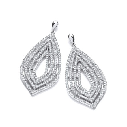 Micro Pave' Cz Large Drop Earrings