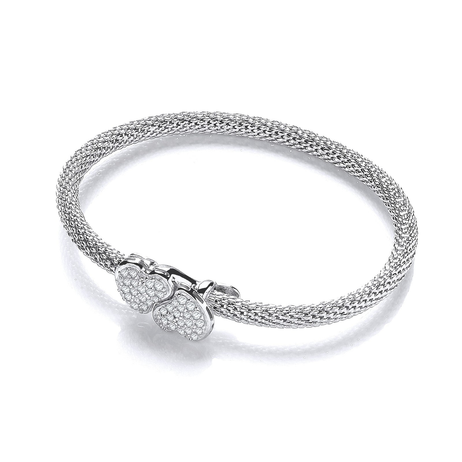 Light Pop Corn Heart Cz Bangle