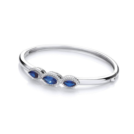 Selling: Three Azure Blue Marquise Cz Bangle