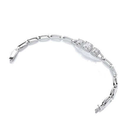 "Selling: Micro Pave' Trilogy Princess Cut Cz's 7""/19cm Bracelet"