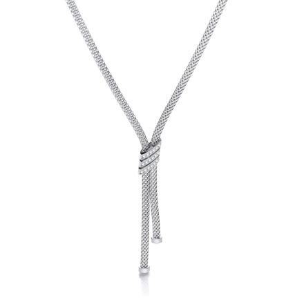 "Necklace with 3 Stripes Cz's 17"""