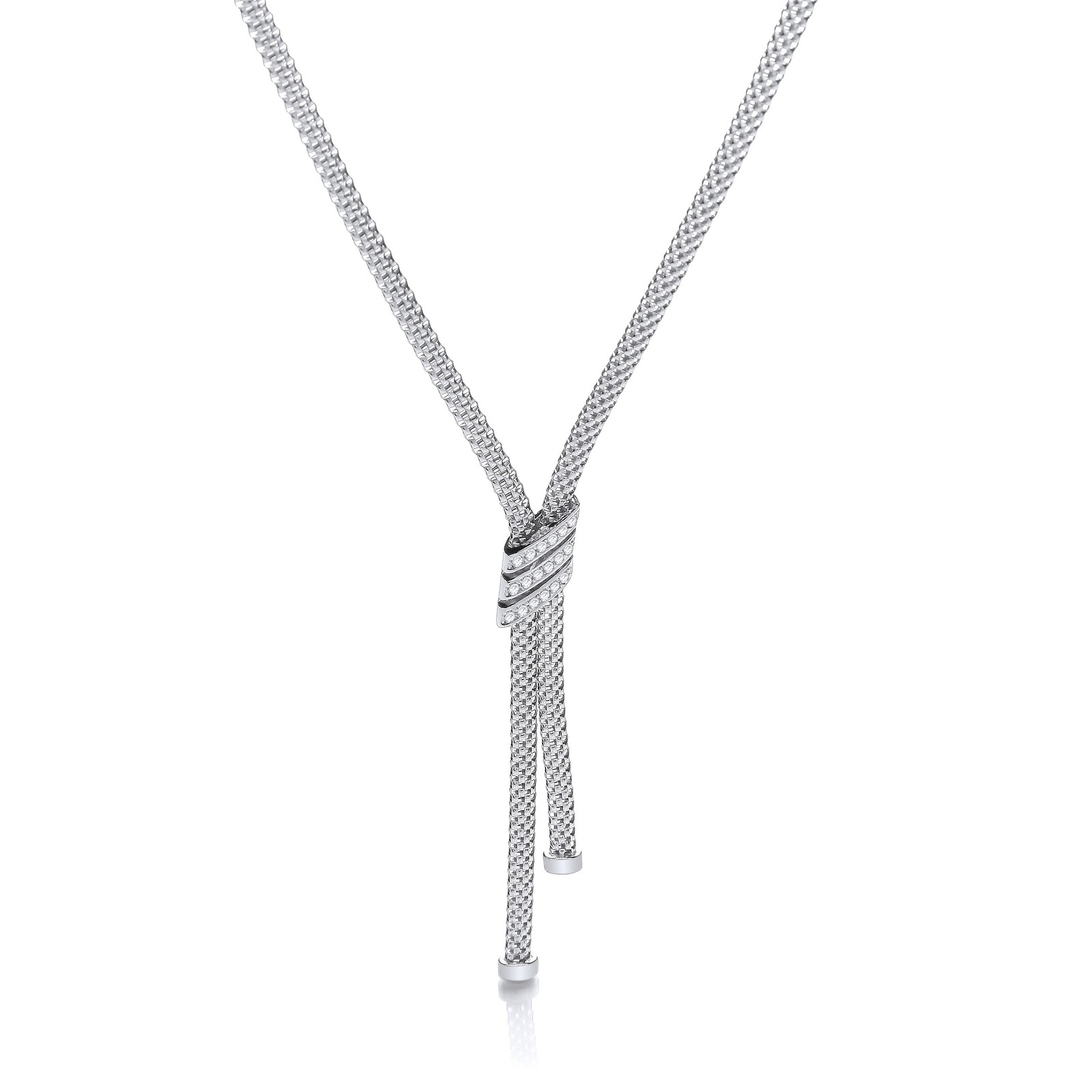 Necklace with 3 Stripes Cz's 17""
