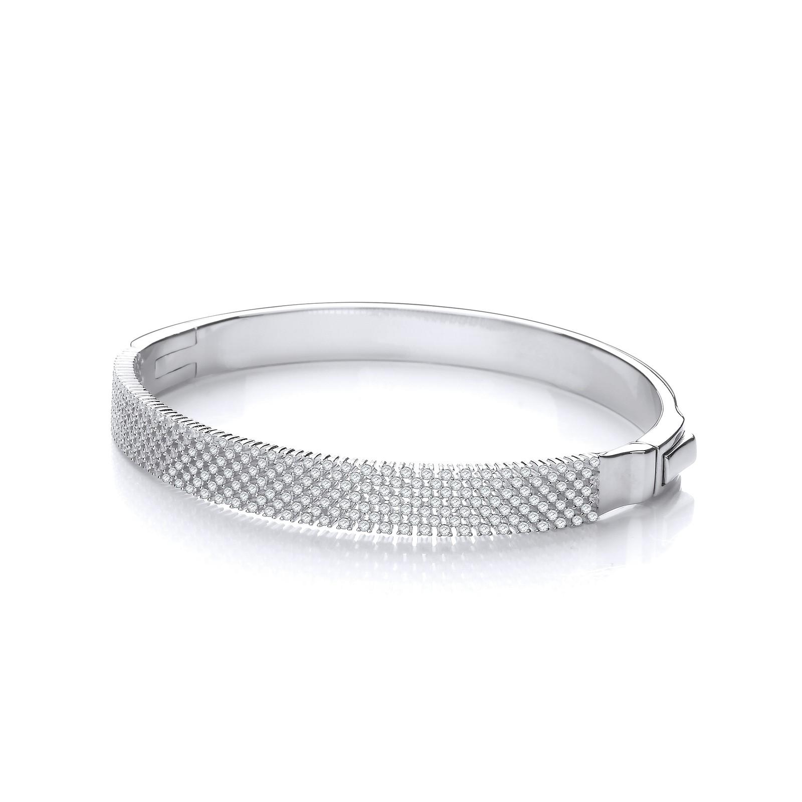 Micro Pave' Multi Row Cz Silver Bangle