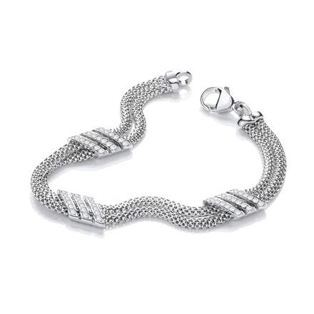 "Double Row 3 Strings of Cz's Bracelet 7"""
