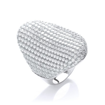 Micro Pave' Long Finger Cz Ring