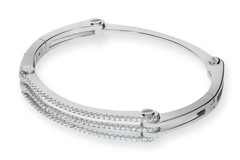 Selling: Micro Pave' Cz Hinged Silver Bangle