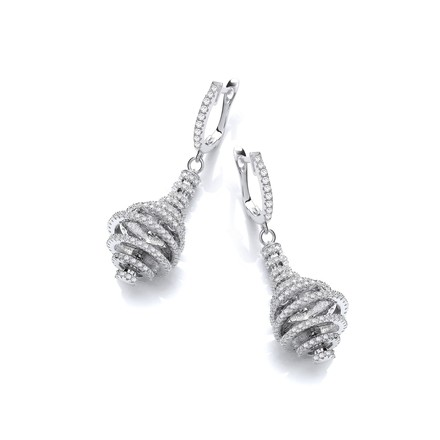 Micro Pave' Circles Layered Into a Pear Shape Cz Earrings