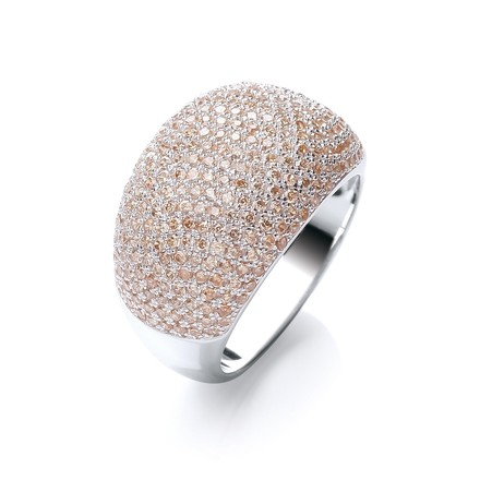Selling: Micro Pave' Cocktail Ring 283 Champagne Cz