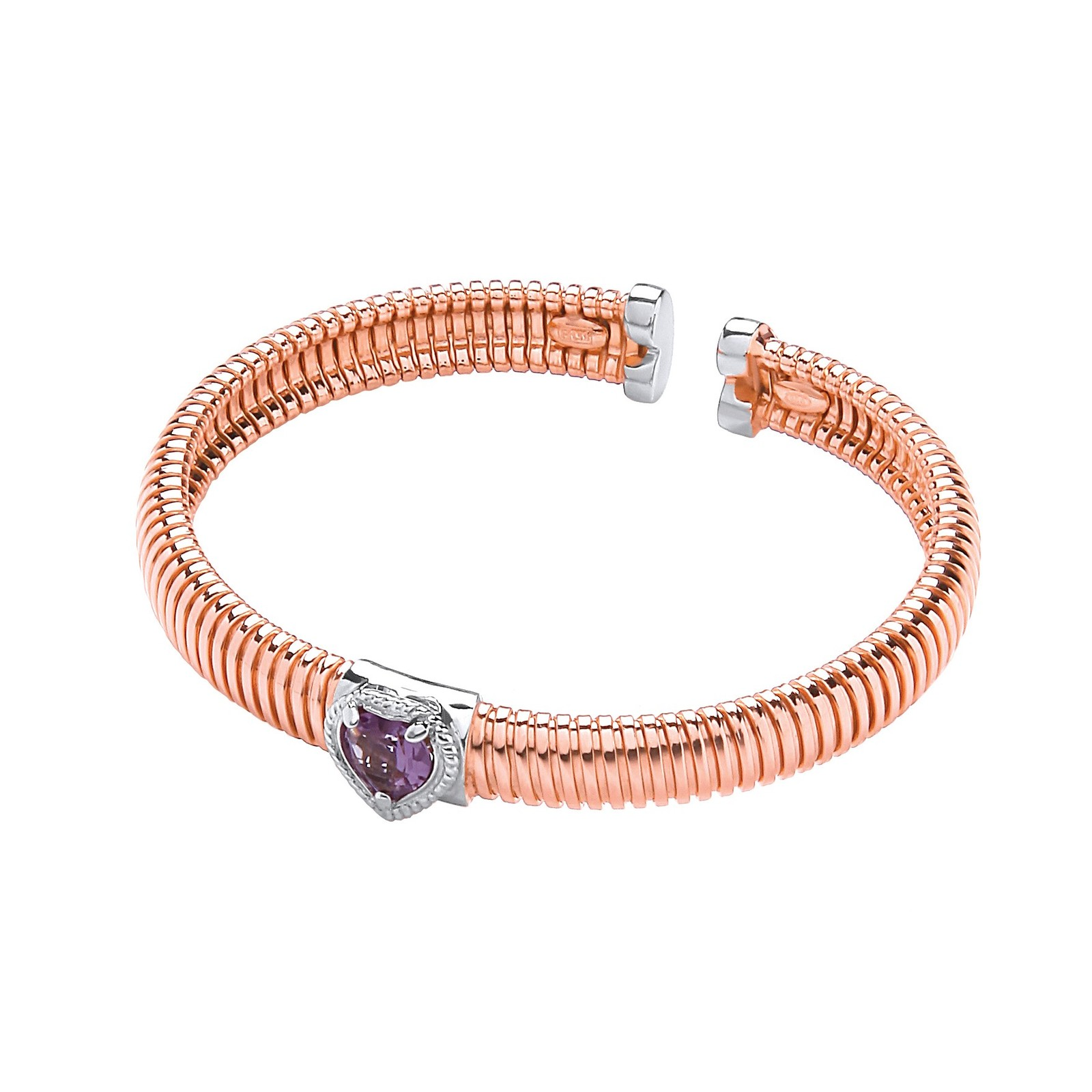 Rose Coated Silver Bangle with Amethyst 0.95ctw Heart