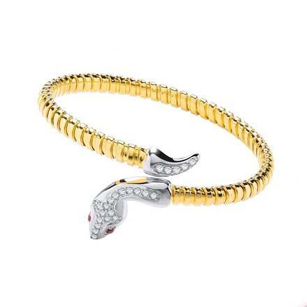 Yellow Coated Silver Snake Bangle