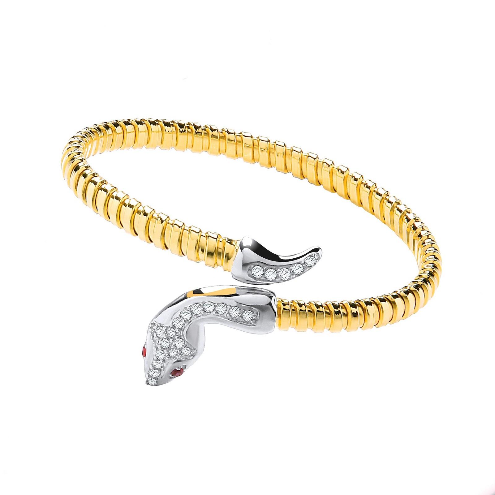 Yellow Coated Silver Snake Bangle