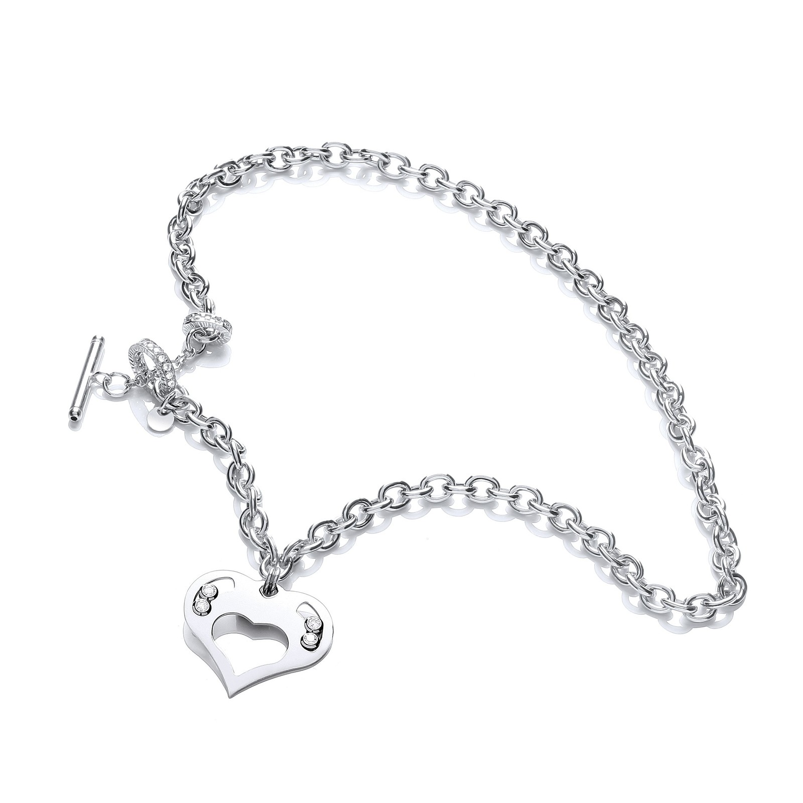 Silver Heart Chain with Floating Swarovski Elements
