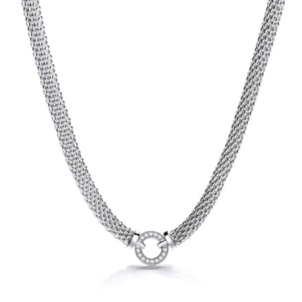 Mesh Necklace with Circle Cz's 17""