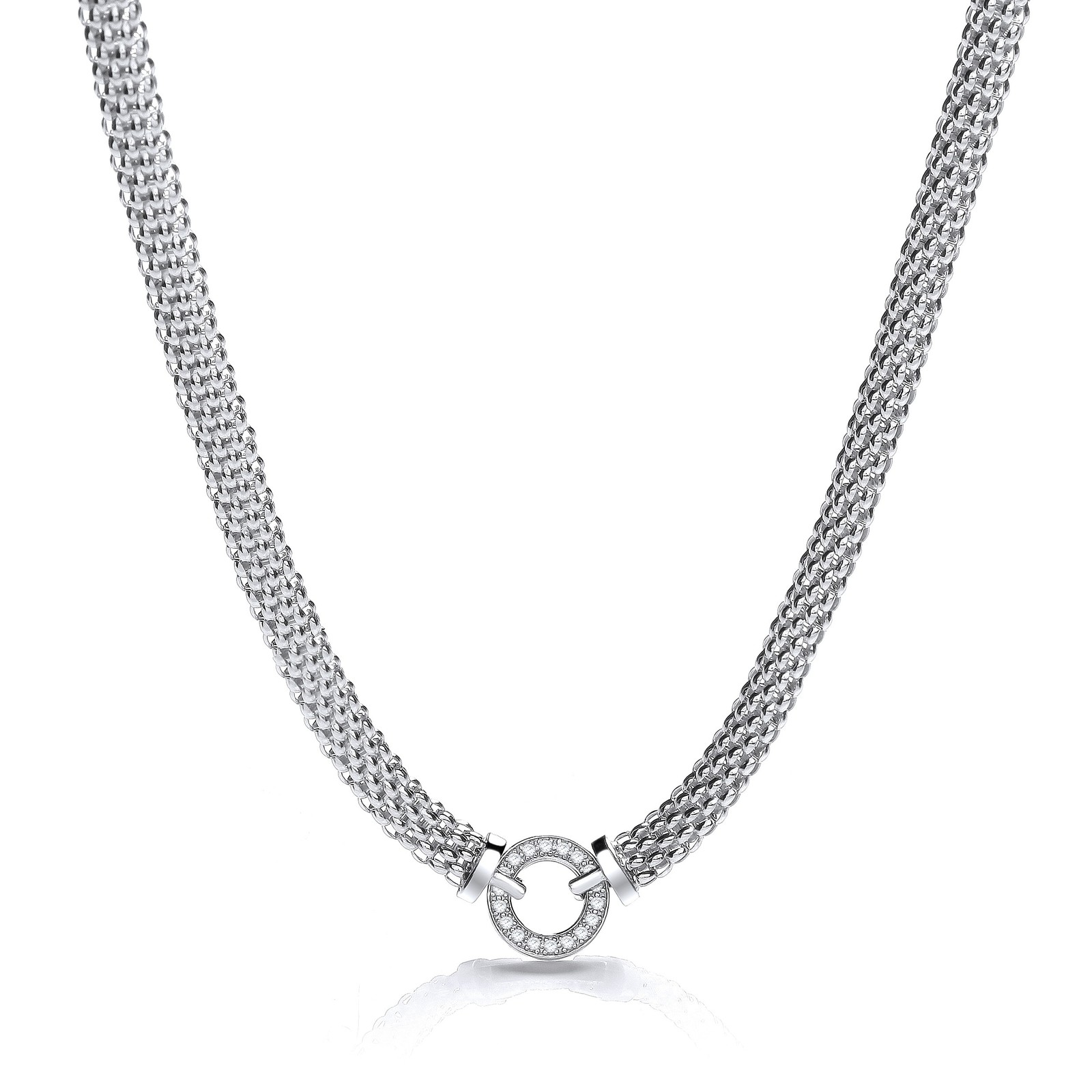 """Mesh Necklace with Circle Cz's 17"""""""