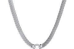 """Selling: Mesh Necklace with Circle Cz's 17"""""""