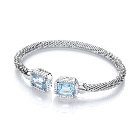 Torque Bangle with BlueTopaz and Cz's