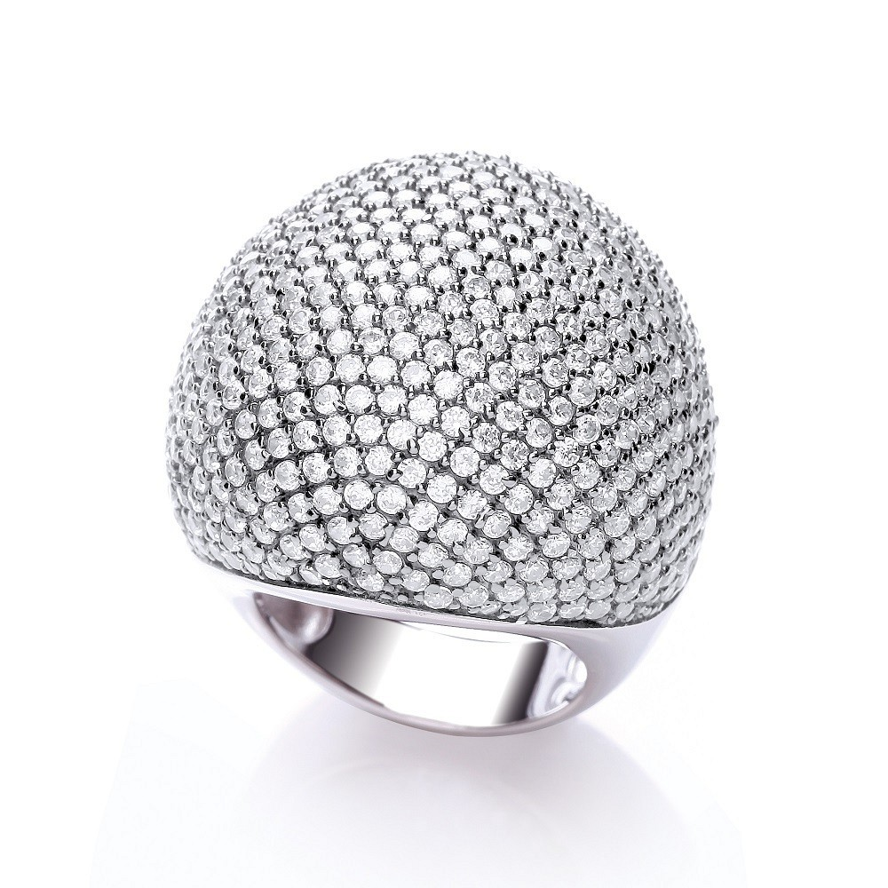 Micro Pave' Big Cocktail Ring 503 White Cz