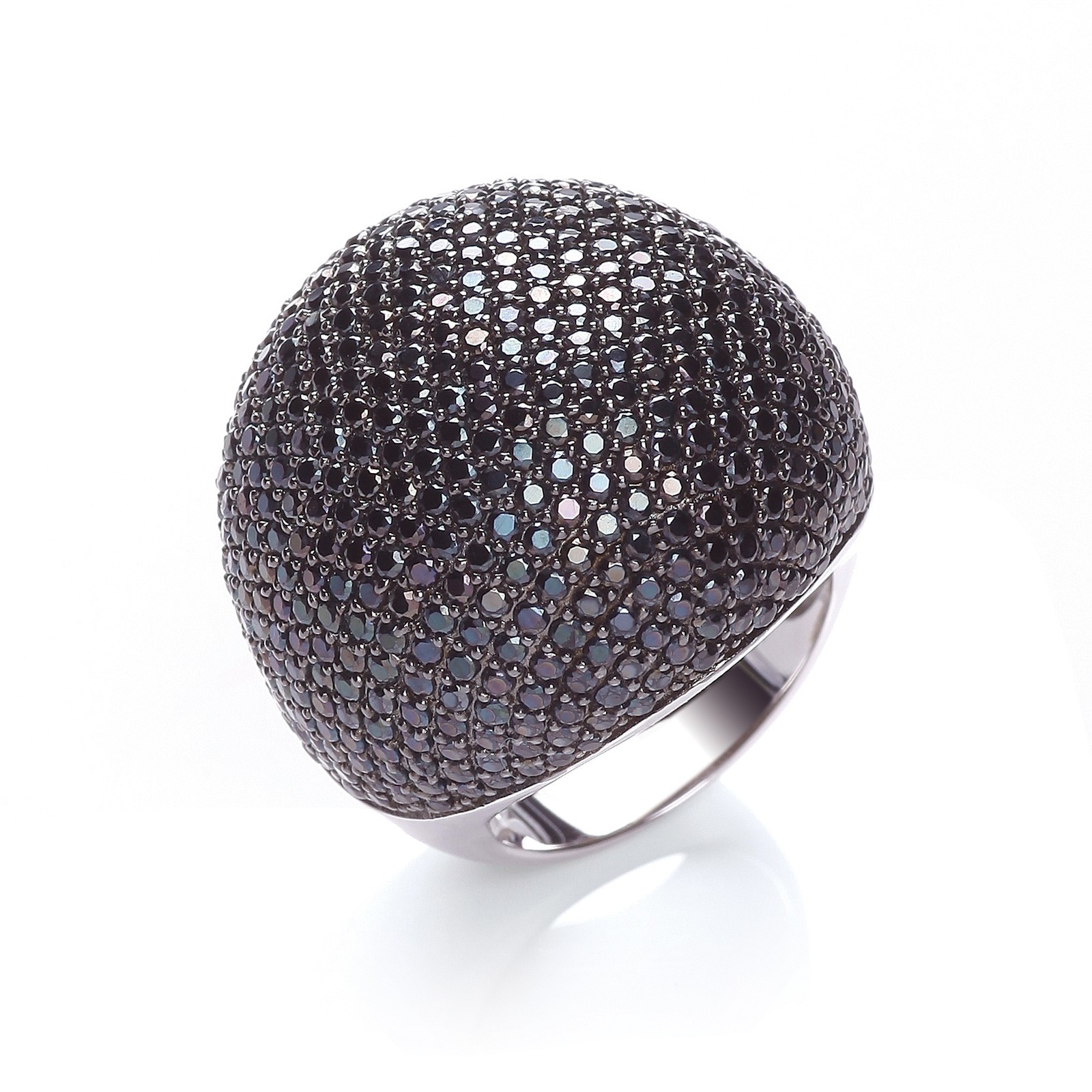 Micro Pave' Big Cocktail Ring 503 Black Cz
