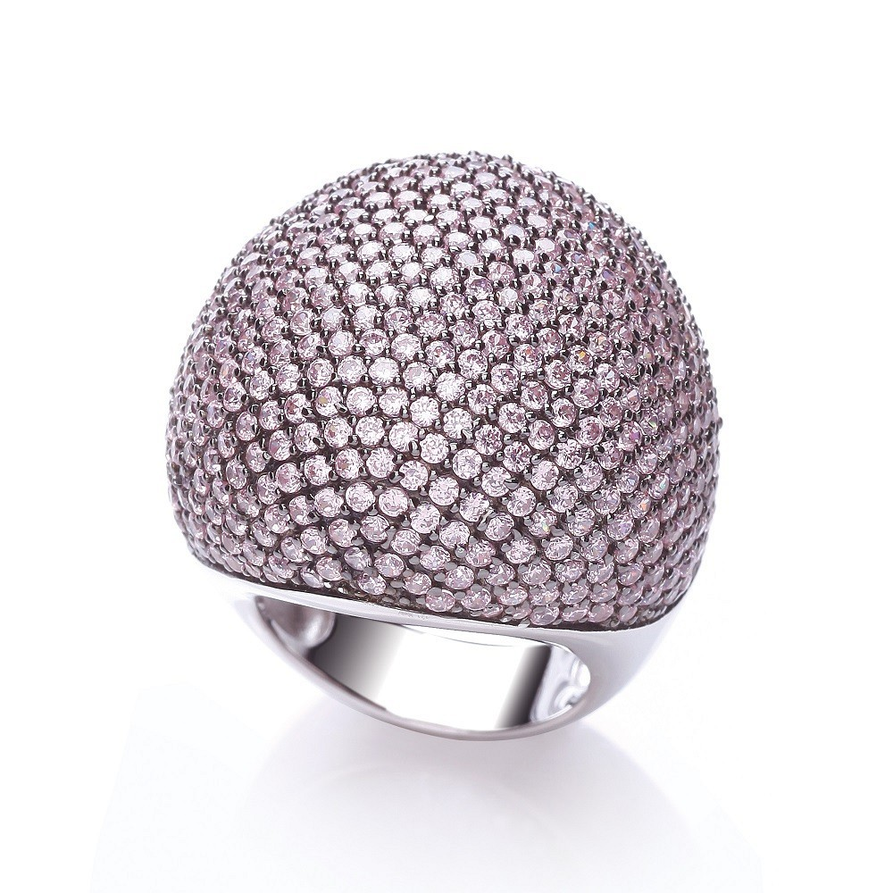 Micro Pave' Big Cocktail Ring 503 Pink Cz