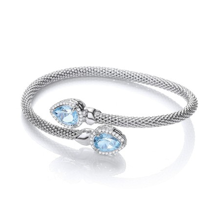 Cross Over Bangle with Blue Topaz and Cz's Pear Shape