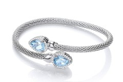 Selling: Cross Over Bangle with Blue Topaz and Cz's Pear Shape