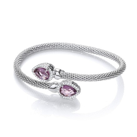 Selling: Cross Over Bangle with Amethyst and Cz's Pear Shape