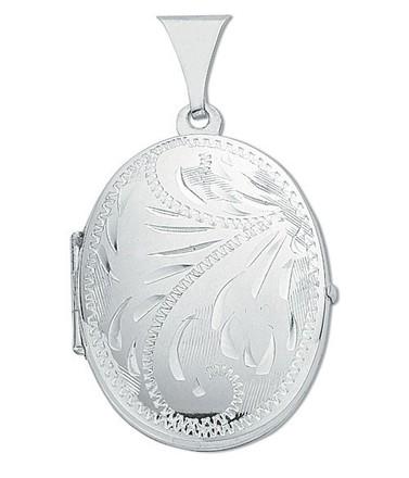 Silver Medium Engraved Oval Shaped Locket