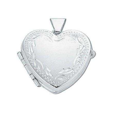 Silver Engraved Heart Shaped Family Locket