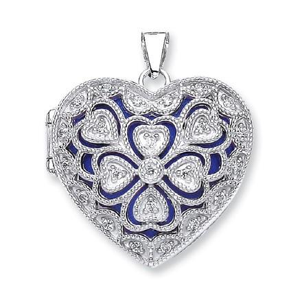 Silver Heart Cz Locket