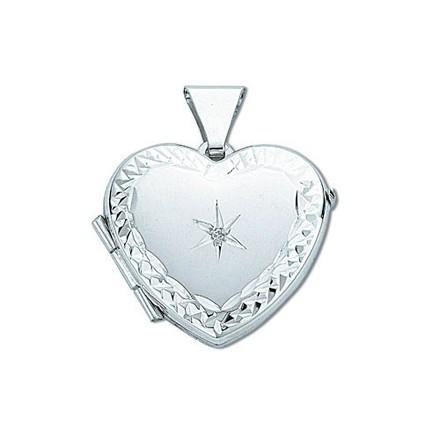 Silver Heart Shaped Diamond Set Locket