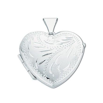 Silver Medium Engraved Heart Shaped Locket
